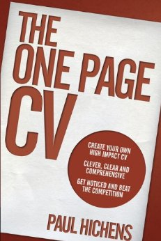 one page cv book cover