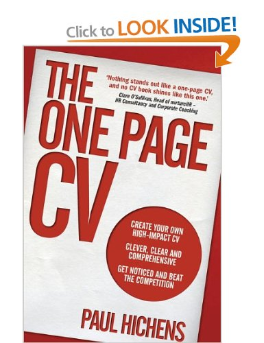 Preview The One Page CV - New Book by Paul Hichens